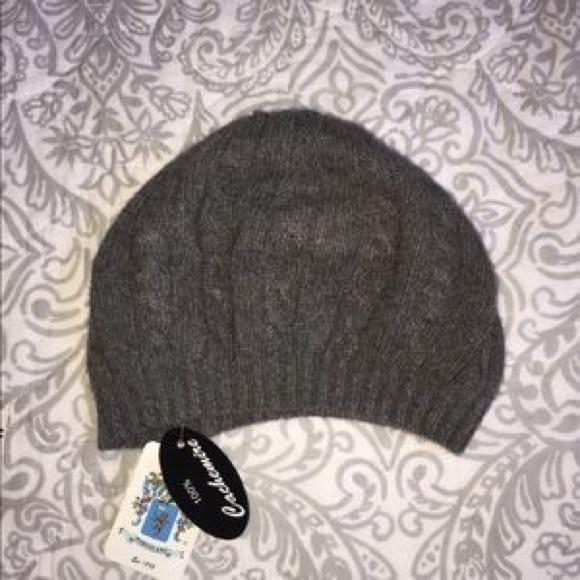 66a9fb01fb8 NWT Portolano Dark Grey Cashmere Beret Hat